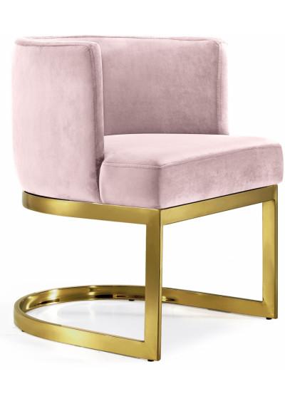 Pink Velvet Barrel Shape Gold Base Dining Accent Chair