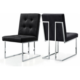 Black Velvet Modern Boxy Geometric Dining Chair Silver Legs Set of 2