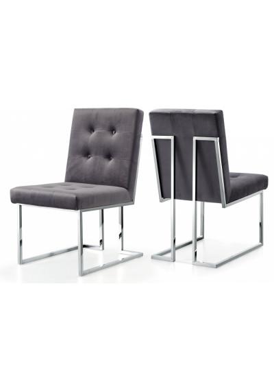 Grey Velvet Modern Boxy Geometric Dining Chair Silver Legs Set of 2
