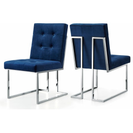 Blue Velvet Modern Boxy Geometric Dining Chair Silver Legs Set of 2
