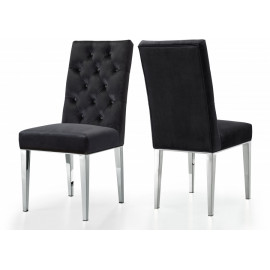 Black Velvet Tufted Dining Chair Silver Legs Set of 2