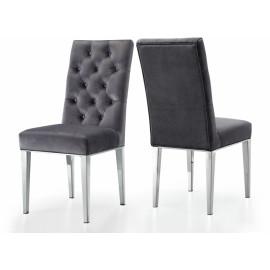 Grey Velvet Tufted Dining Chair Silver Legs Set of 2