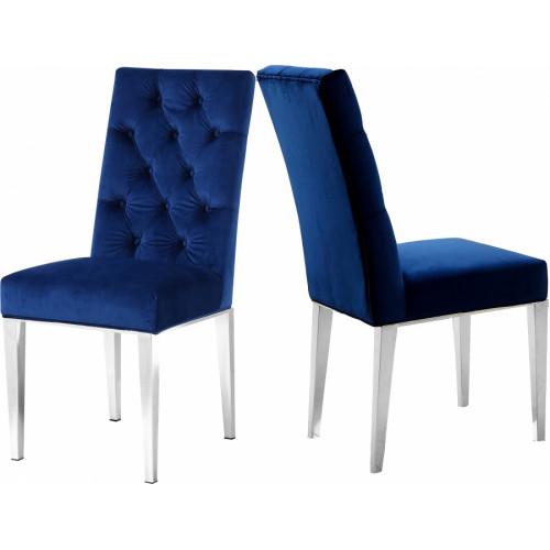 Blue Velvet Tufted Dining Chair Silver Legs Set of 2