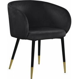 Modish Curved Back Black Velvet Black Legs Dining Accent Chair