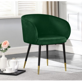 Modish Curved Back Forest Green Velvet Black Legs Dining Accent Chair