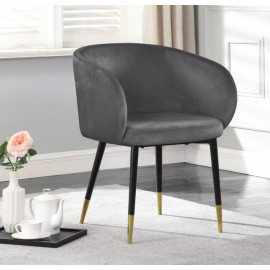 Modish Curved Back Grey Velvet Black Legs Dining Accent Chair