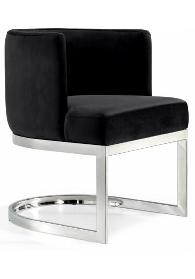 Black Velvet Barrel Shape Silver Base Dining Accent Chair