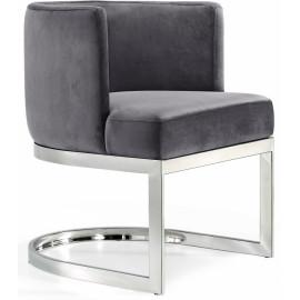 Grey Velvet Barrel Shape Silver Base Dining Accent Chair