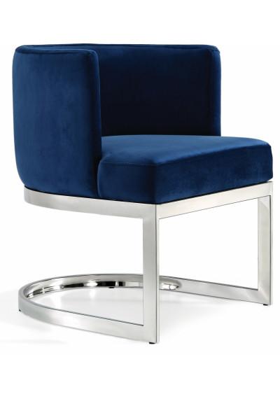 Blue Velvet Barrel Shape Silver Base Dining Accent Chair