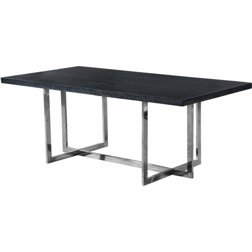 Black Wood Top Silver Geometric Base Dining Table