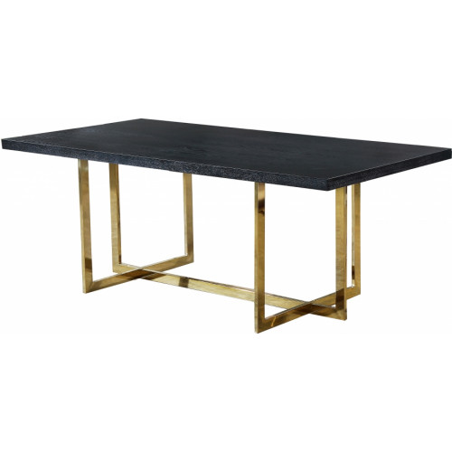 Black Wood Top Gold Geometric Base Dining Table