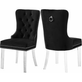 Acrylic Leg Black Velvet Tufted Dining Chair Set of 2