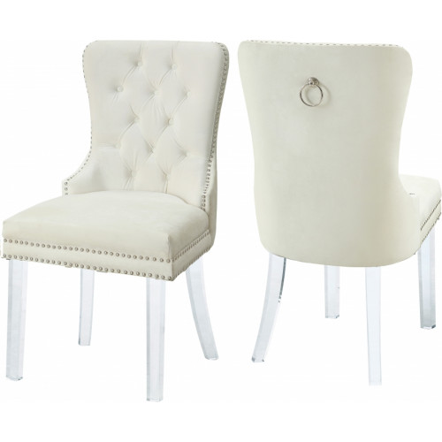 Acrylic Leg Cream Velvet Tufted Dining Chair Set of 2
