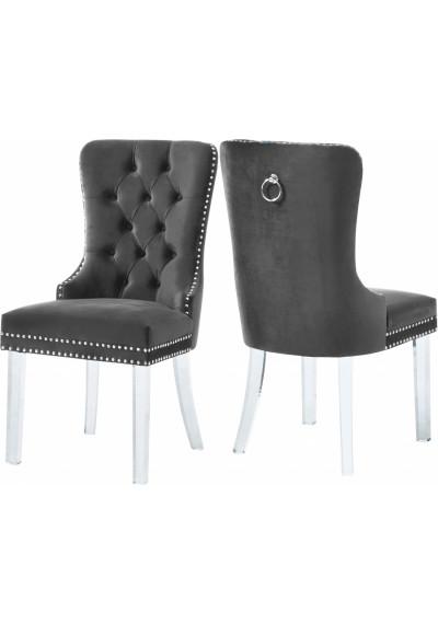 Acrylic Leg Grey Velvet Tufted Dining Chair Set of 2