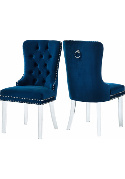 Acrylic Leg Blue Velvet Tufted Dining Chair Set of 2