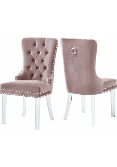 Acrylic Leg Blush Pink Velvet Tufted Dining Chair Set of 2