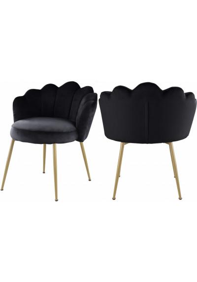 Black Velvet Flower Petal Back Accent Dining Chair Gold Legs Set of 2