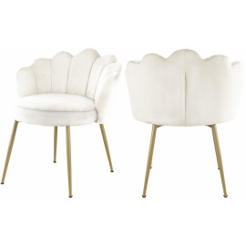 Cream Velvet Flower Petal Back Accent Dining Chair Gold Legs Set of 2