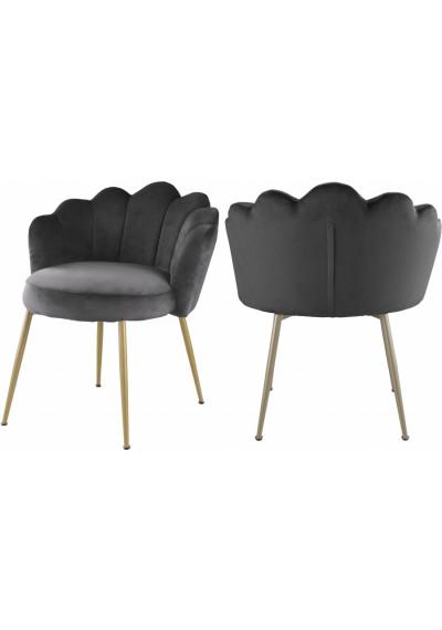 Grey Velvet Flower Petal Back Accent Dining Chair Gold Legs Set of 2