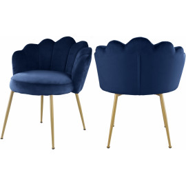 Blue Velvet Flower Petal Back Accent Dining Chair Gold Legs Set of 2