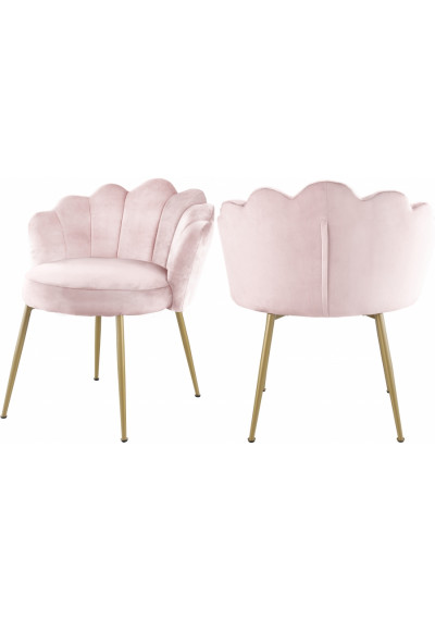 Blush Pink Velvet Flower Petal Back Accent Dining Chair Gold Legs Set of 2