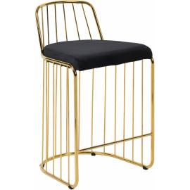 Gold Bars & Black Velvet Seat Bar Counter Stool