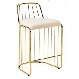 Gold Bars & Cream Velvet Seat Bar Counter Stool