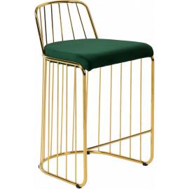 Gold Bars & Green Velvet Seat Bar Counter Stool