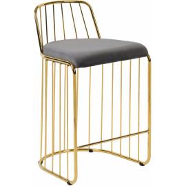 Gold Bars & Grey Velvet Seat Bar Counter Stool