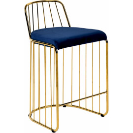 Gold Bars & Blue Velvet Seat Bar Counter Stool