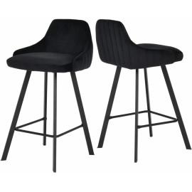 Black Velvet Counter Stool Matte Black Legs Set of 2