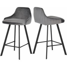 Grey Velvet Counter Stool Matte Black Legs Set of 2