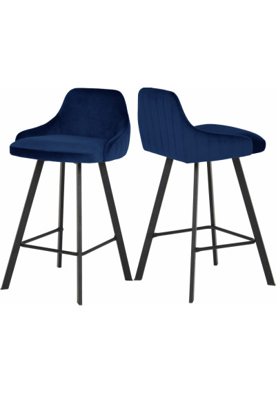 Blue Velvet Counter Stool Matte Black Legs Set of 2