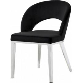 Black Velvet Modern Rounded Back  Accent Dining Chair Silver Legs
