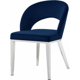 Blue Velvet Modern Rounded Back  Accent Dining Chair Silver Legs
