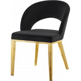 Black Velvet Modern Rounded Back  Accent Dining Chair Gold Legs