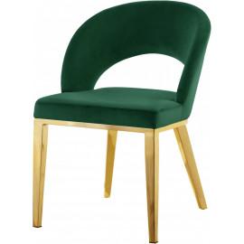 Green Velvet Modern Rounded Back  Accent Dining Chair Gold Legs