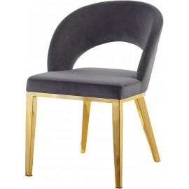 Grey Velvet Modern Rounded Back  Accent Dining Chair Gold Legs