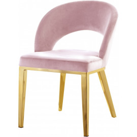 Pink Velvet Modern Rounded Back  Accent Dining Chair Gold Legs