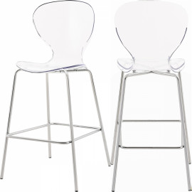 Chic Acrylic Body Silver Base Counter Stool Set of 2