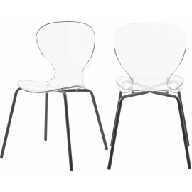 Chic Acrylic Body Black Base Dining Chair Set of 2