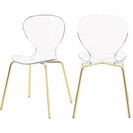 Chic Acrylic Body Gold Base Dining Chair Set of 2
