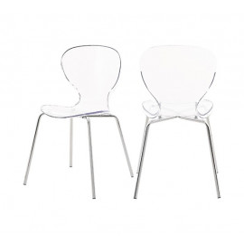 Chic Acrylic Body Silver Base Dining Chair Set of 2
