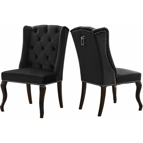 Black Velvet Wing Back & Tufted Dining Chair Set of 2