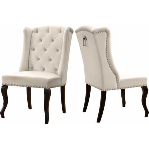 Cream Velvet Wing Back & Tufted Dining Chair Set of 2