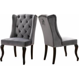 Grey Velvet Wing Back & Tufted Dining Chair Set of 2