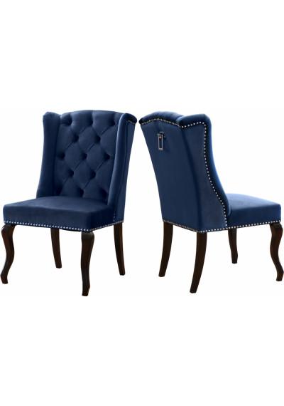 Blue Velvet Wing Back & Tufted Dining Chair Set of 2