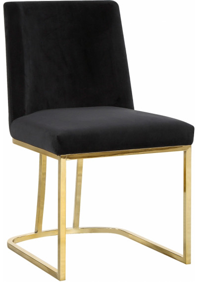 Black Velvet Accent Gold Curved Dining Chair Set of 2