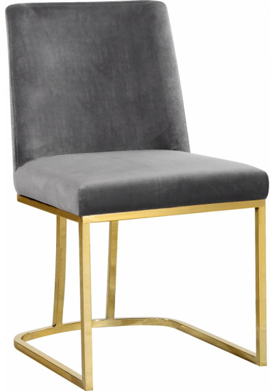 Grey Velvet Accent Curved Dining Chair Set of 2