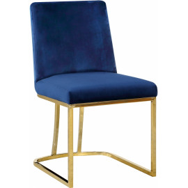 Blue Velvet Accent Curved Dining Chair Set of 2